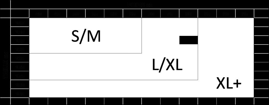 guide de taille collant en S, M, L, XL, XL+